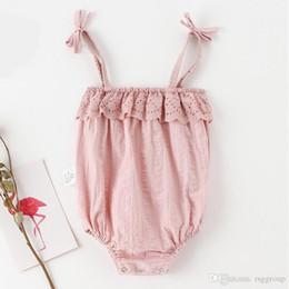 $enCountryForm.capitalKeyWord NZ - NEW INS Stylish Designer Toddler Baby Girls Rompers Cotton Ruffles Lace Belt Straps Sleeveless Newborn Jumpsuits Bodysuits Onesies 0-2T