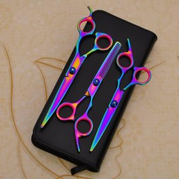 Rainbow sheaRs online shopping - Stainless Steel Scissors Professional Barber Salon Shears Cutting Styling Tool Inch Rainbow Sets Scissors