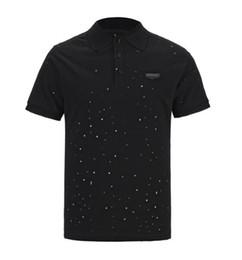 shirt man short button 2019 - 2019 GIV Summer Street wear Europe Paris Designer Luxury Brand Polos Fashion Men High Quality Broken Hole Cotton Polo Ca