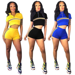 soccer outfits 2019 - Womens sportswear shorts outfits 2 piece set pullover short pant sweatshirt sexy crop top tights shorts klw1409 discount