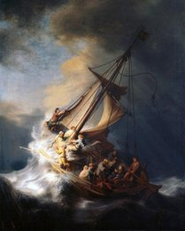 painting ocean boat Australia - High Quality Handpainted & HD Print Oil Painting Rembrandt - Christ on sail boat with huge ocean waves - storm Multi Sizes p142