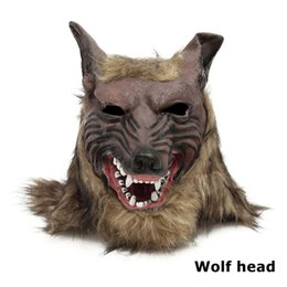 Black wolf mask online shopping - Cosplay Latex Rubber Wolf Head Hair Mask Gloves Unisex Novelty Animal Full Mask Halloween Role Play Fancy Dress Party Costume