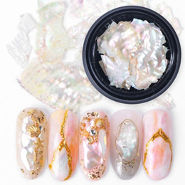 chocolate shells wholesale UK - NEW 1Box Nail Decorations 3D Shiny Abalone Pearl Shell Slice Flake Nail Art Stones Charms Spangles Tips Manicure Accessories