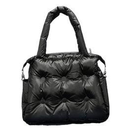 Winter cotton tote handbag online shopping - Winter New Women Handbags Space Pad Cotton Feather Down Retro Solid Bag Bucket Handbag Shoulder Bags Tote Portable Messenger Bag