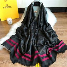 Scarfs Cotton Australia - 2019 Elegant and beautiful women silk and cotton scarf monogram design scarf shawl size 180*70cm scarf no box
