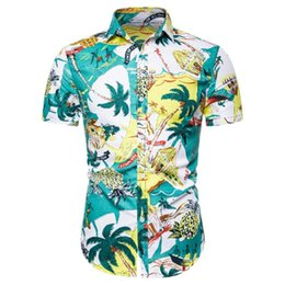 Wholesale hawaiian dress shirts resale online - Men Shirt Summer Print Casual Men Short Sleeve Shirt Soft Dress Slim Fit Male hawaiian New Beach