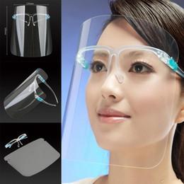 DHL 3-7 dias ao titular US PET Rosto Protetor Com Safety Glass Oil-à prova de respingos Anti-UV Capa protetora Máscara Facial de vidro Facial Transparente em Promoção