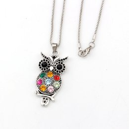 Antique crystAl owl online shopping - 10pcs Retro Colorful Crystal Owl Pendant Necklaces inches Necklace Antique Silver Fashion Jewelry Ms long sweater chain