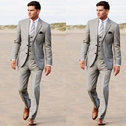 Wholesale white wedding tuxedo worn black man resale online - Handsome Men Beach Wedding Outfit Notched Lapel Two Button Groom Wear Tuxedos Pieces Prom Party Blazer Suits Jacket Pants