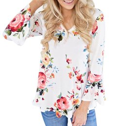 long black v neck blouse 2019 - Plus Size 5XL 2018 Women Blouse Floral V Neck Flare Sleeve Long Sleeve Blouse Casual Tops Female Vintage Shirt Loose Tee