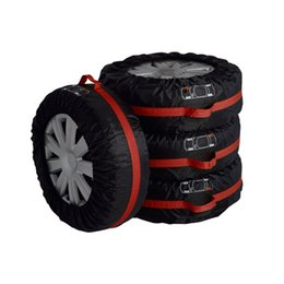 tyre case UK - winter 4Pcs Spare Tire Cover Case Polyester and Summer Car Tires Storage Bag Automobile Tyre Accessories Vehicle Wheel Protector