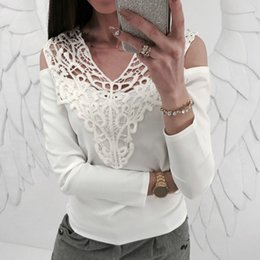 Lace Splice T Shirt Australia - NEW Spring Women Sexy Lace Splicing V Neck Hollow Out Long Sleeve T-shirt Solid Color Slim Shirt Tops Female Clothing