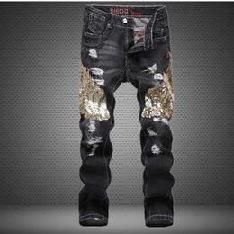Latest Jeans Australia - 2018 latest Fashion sequins print Flowers men jeans trousers Men's Casual pants H15