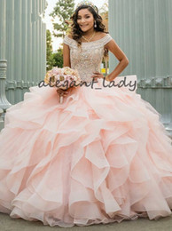 $enCountryForm.capitalKeyWord Australia - Luxury Crystal Beaded Debutante Ball Gowns Blush Pink Quinceanera Dresses 2019 Off Shoulder Ruched Puffy Organza Sweet 16 Dress