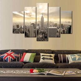 $enCountryForm.capitalKeyWord Australia - New York Empire State Building,5 Pieces Canvas Prints Wall Art Oil Painting Home Decor (Unframed Framed)