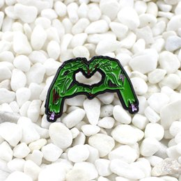 Discount devil leather - Green devil hands form a love heart gesture brooch Gothic personality creative badge Horror fashion Denim leather backpa