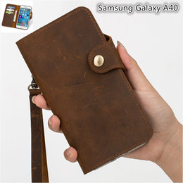 leather lanyards NZ - QX11 Gneuine Leather Wallet Flip Case With Card Holders For Samsung Galaxy A40 Wallet Case Fundas With Lanyard Phone Pouch