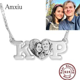 sterling silver name necklace Australia - Amxiu 100% 925 Sterling Silver Necklace Engrave Picture Initials Name Pendant Necklace Diy Photo Necklace Personalized Jewelry J190620