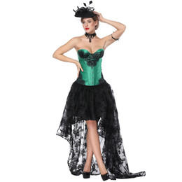 0b5b021ada6 Sladuo Victorian Gothic Lace Green Satin Overbust Corset Dress Waist  Slimming Shaper Body Costume Retro Cosplay Steampunk Corset