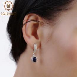 Genuine Gemstone Sterling Silver Australia - Gem's Ballet Hot Sale 1.29ct Natural Sapphire Gemstone Drop Earrings Genuine 925 Sterling Silver Women's Earring Fine Jewelry Y19052401