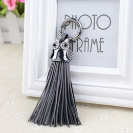 $enCountryForm.capitalKeyWord Australia - Luxurious Leather Tassels Bag Hanging With Owl Key Chains Alloy Key Ring Keychains Jewelry For Bags Car Phone DecorationSH190724