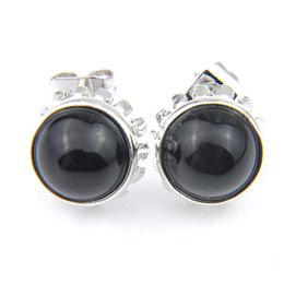 wholesale 925 round stud earrings UK - Luckyshine 10 Pair Fashion Simple 925 Silver For Women Retro Round Black Onyx Gemstone Stud Earrings