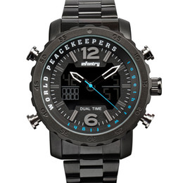 $enCountryForm.capitalKeyWord UK - INFANTRY Circle Dial Unisex LED Military Square Case Dual Time Tactical Digital Analog Heavy Duty World Peace Keeper Crossover Watch