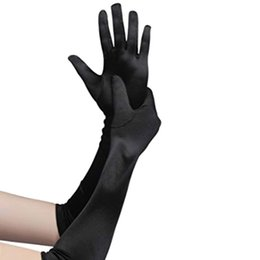 green costume gloves 2019 - 2018 New Classic Adult Skin Opera Elbow Wrist Stretch Satin Finger Long Gloves Women Flapper Gloves Matching Costume dis