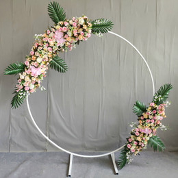 Supplies For Party Decoration Australia - New fashion Upscale Wedding Centerpieces gold Ring Arch with Flower Set for Party Decoration Props Supplies Free Shipping