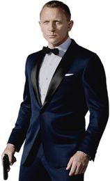 Dark Blue Suits Australia - Custom Made Dark Blue Tuxedos By Worn In James Bond Wedding Suit Business Suits Groom Suit( Jacket+ Pants ) C19041602