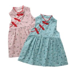 chinese clothes cheongsam Australia - Toddler Baby Girl Cheongsam Dress Summer Princess Dress Sleeveles Stand Collar Floral Chinese Style Party Clothes Sundress