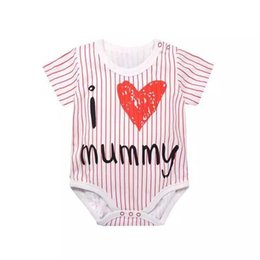 romper suits for baby boys UK - Unisex Baby Boy Short Sleeve Romper One-Piece Party Outfits with Love Mom Dad Stripe Onesie For Baby Girl Children's Jump Suit