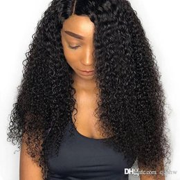 glueless full lace wig afro curly Australia - Afro Kinky Curly Full Lace Wig Baby Hair Pre Plucked Virgin Brazilian Hair Glueless Afro Curly Human Hair Wigs For African American Women