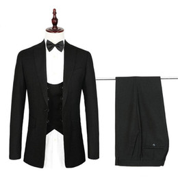$enCountryForm.capitalKeyWord Australia - Custom Made Black Men Suits for Wedding Satin Shawl Lapel Slim Fit Groom Tuxedos Double Breasted Handsome Men Blazer 3 Pieces