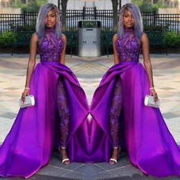 royal ball suit Australia - 2020 Prom Jumpsuits Dresses With Detachable Train High Neck Lace Appliqued Bead Evening Gowns Luxury African Party Women Pant Suits