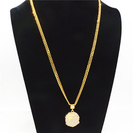 Necklaces Pendants Australia - High Street Mens Necklace with Crystal Tide Brand Gold Alloy Chain Hip Hop Style Pendant Necklace