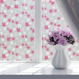 fabric frosted UK - 100m Frosted bedroom window flower film thickening self-adhesive bathroom light opaque bathroom office cellophane glass film