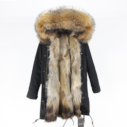 long green jacket fur hood Canada - 2020 Real Fur Coat Winter Jacket Women Long Parka Natural Raccoon Fur Collar Hood Fox Fur Liner Thick Warm Streetwear Outerwear