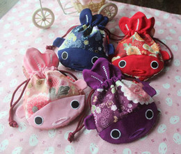 cute cloth purses Australia - New Embroidered Fish with tail Large Cloth Gift Bag Creative Christmas Bag Japan style Cute Coin Purses Pouch Wedding Party Candy Bag 1pcs