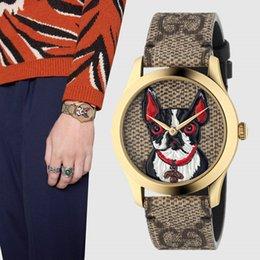 Chegada nova Dog Face Famosa Marca de Borracha Relógio Esportivo 38 MM Homens e Mulheres Se Vestem Relógios de Ouro Casual Moda Orologio Reloj Relógio Com Caixa venda por atacado