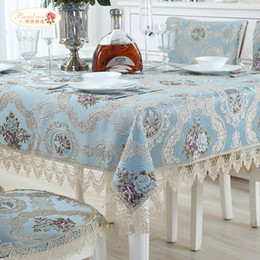 Discount white jacquard - Rose European Jacquard Table Cloth Lace Tablecloth Table Runner Wedding Decor Cover Dustproof Cloth Chair Cushion