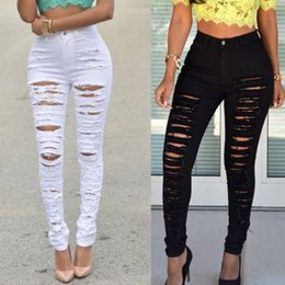 White Ripped Jeans Australia - Fashion Women Slim Fit Skinny Denim Jeans Ladies Hole Pencil Pants Stretch Faded Ripped Jeans Destroyed Vintage Black White