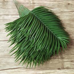 Green Plastic Trees Australia - 20pcs Plastic Artificial Palm Tree Leaves Branch Green Plants Fake Tropical Leaf Home Wedding Decoration Flower Arrangement C18112601