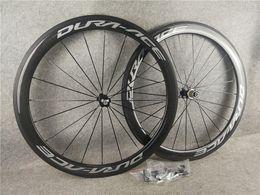 Venta al por mayor de 50mm camino del carbón de ruedas A271 R36 concentradores 700C factor decisivo borde del camino bicicleta de carbono juego de ruedas + + radios concentradores