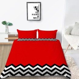black red bedding sets queen Australia - Creative Bedding Set Hot Sale Polyline Pattern Duvet Cover Red Black King Queen Soft Twin Full Single Double Bed Cover with Pillowcase 3pcs