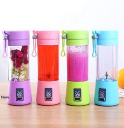 1300MA Electric Juicer Cup Mini Portable USB Rechargeable Juice Blender And Mixer 2 leaf plastic Juice Making Cup LJJK2335 on Sale