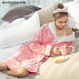 Winter sexy sleepWear online shopping - THREEGUN Women Robe Warm Flannel  Bathrobe Autumn Winter Female Sleepwear e3dc34bcd