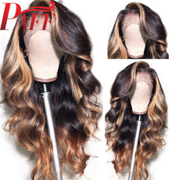 ombre full lace wigs Australia - PAFF Highlight Blonde Full Lace Human Hair Wigs With Baby Hair Ombre Body Wave Peruvian Remy Hair Wig Pre Plucked Side Part