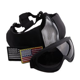 Discount metal mesh half face mask - Tactical Ride Masks Breathable Half Metal Steel V10 Mesh Face Mask And UV400 Goggles+Armband Set For Hunting Paintball