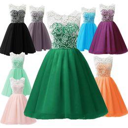 Knee length formal dance dress online shopping - Kids Girls Sweet Party  Flower Lace Pleated Sleeveless e16e4a240